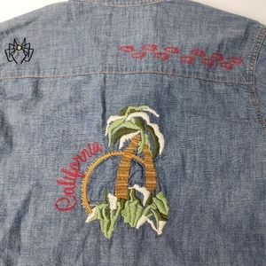 Lucky Brand Western Chambray Embroidery Shirt  XL